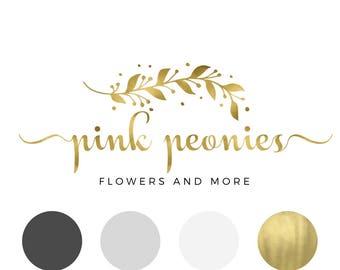 Premade logo, Pink watercolor logo, Flower shop logo, Watercolor logo, Blog logo kit, Blog branding kit, Business logo, Calligraphy logo