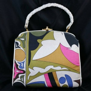 Fabulous Emilio Pucci Top Handle Handbag Vinyl Accents Signed