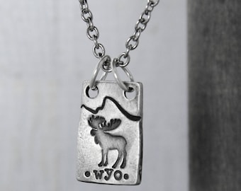 Moose Necklace WYO , Moose Jewelry, Mountains Necklace, Tetons Necklace, Wyoming Jewelry, Pewter Necklace, Hand Stamped Jewelry, Stamped