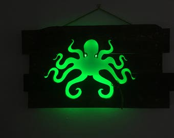 Octopus Cutout Wall Art - Repurposed Pallets & LED Lights