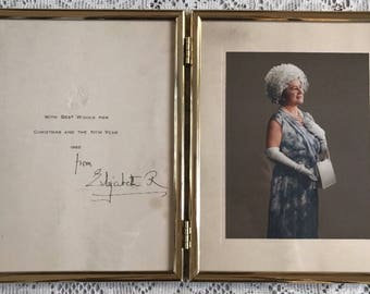 Queen Elizabeth Queen Mother Signed Christmas Card Framed 1965