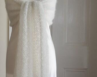 Bridal shawl - cream coloured crochet lace wedding / bride's shawl in a mohair and silk yarn