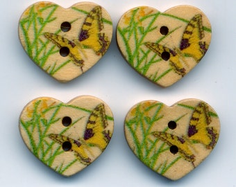 Butterfly Buttons Decorated Heart Wooden Buttons 18mm (3/4 inch) Set of 8 /BT34