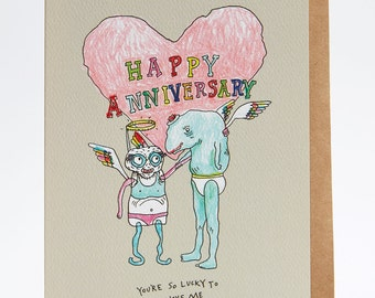 Anniversary card, funny anniversary card, Happy anniversary card, boyfriend card, girlfriend card, 'Lucky Anniversary' card, love card