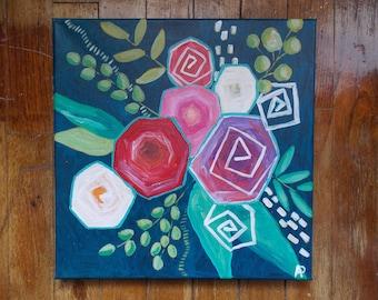 Acrylic Flower Painting on 12 x 12 canvas, wall decor, art