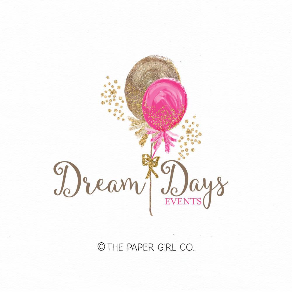 Balloon Logo Design Party Logo Design Watercolor Logo Design