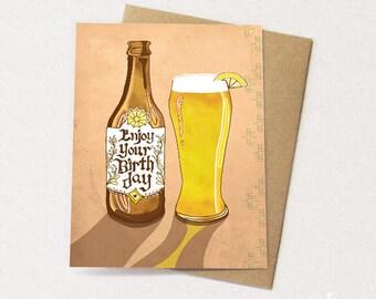 Beer Card - Enjoy Beer Greeting Card, hefeweisen, paper goods, greeting cards, drink cards