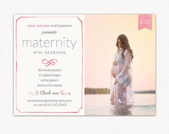 Mini Session Maternity Marketing board MM001 - Template for Photographers - PSD 5x7