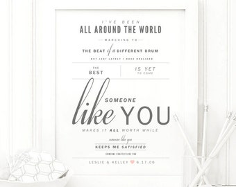 "Van Morrison ""Someone Like You"" - Grey and Blush - Valentine's, Wedding Gift, Paper Anniversary Gift, Song Lyrics, Art Print"