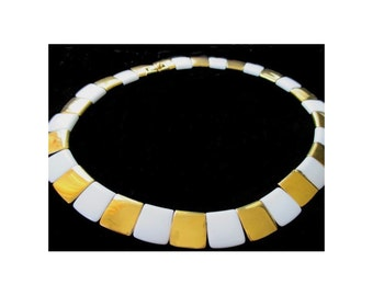 MONET NECKLACE * White And Gold Disks * Classic Vintage