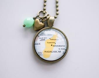 Map of Madagascar Necklace - Africa Map Pendant Necklace - Custom Jewelry - Travel Necklace Adoption Jewelry East Africa Island Teacher GIft