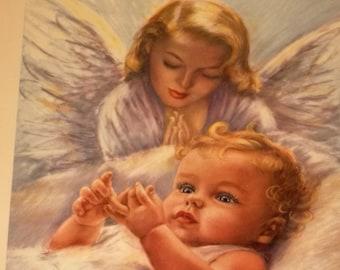 Our Baby's Guardian Angel Erna Kasabach Print Original Retro Frame / 1950's