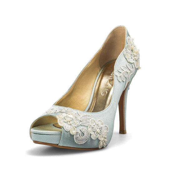Something blue wedding shoes with lace powder blue bridal junglespirit Image collections