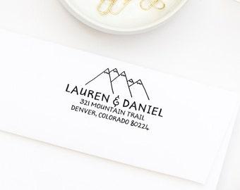Return Address Stamp, Hand Drawn Stamp, Personalized Address Stamp, Wedding Stamp, Mountain Address Stamp, Self-Inking Stamp,  Style No. 134