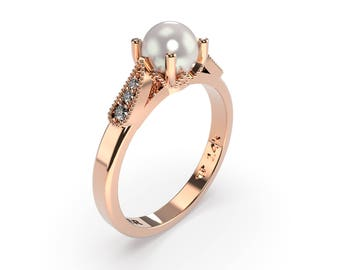 pearl engagement ring rose gold, Pearl Wedding Ring, pearl vintage ring, White Pearl Ring,  Diamond Pearl Gold Ring, June birthstone , gift