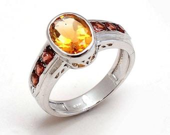 Natural Gem Stone Citrine & Sapphire Ring Jewelery