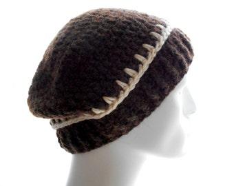 Upcycled Brown Hat, Merino Alpaca Beanie, Men's Crochet Hat, Women's Beanie Hat, Extra Large Size