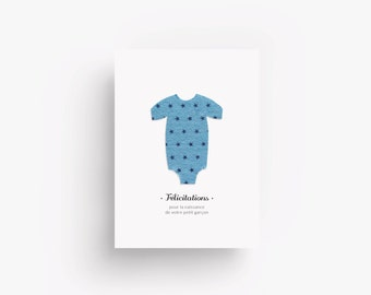 Congratulations card with blue fabric