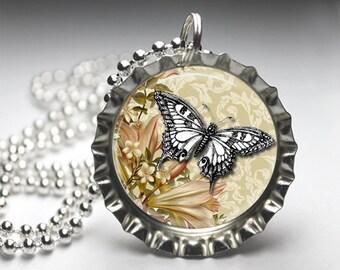 Vintage Altered Art Bottelcap Pendant Necklace, Silver Bottlecap Pendant, Free Ball Chain