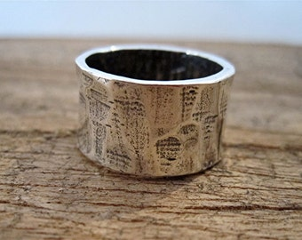 Chunky Organic Textured Artisan Sterling Silver Ring - Size 7 1/4 (N)