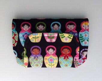 BIG fabric wallet / purse . Matrioshka doll print with mint lining