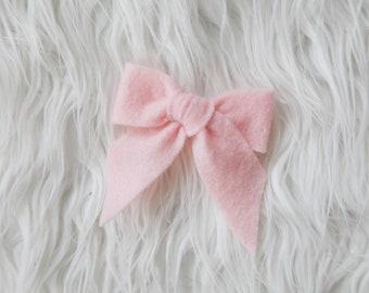Schoolgirl Bow - Light Pink Felt Hair Bow - You Choose Headband Clip or Pony Holder - Hair Accessory for Baby Toddler Girls