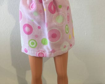 Barbie Doll pink and green circles skirt