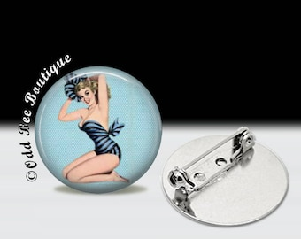 "Beach Pinup Girl Pin - Rockabilly Brooch - Bathing Suit Pin Up Button - Retro Vintage Nautical Gift - Retro Pin - 1"" Silver and Glass Pin"