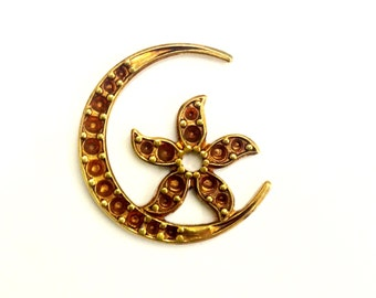 5 Pieces Crescent Moon with Star in the Center with Settings, Stuck Raw Brass, Vintage, 25x23mm