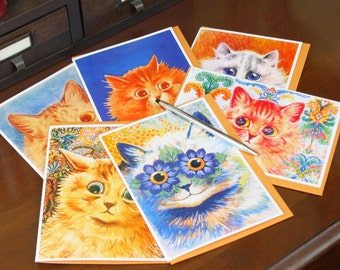 Frameable 5x7 Greeting Card Set with Louis Wain artwork (6 Card Set with colored envelopes)