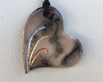 Horse Hair Raku Heart Pendant with Mixed Precious Leaf