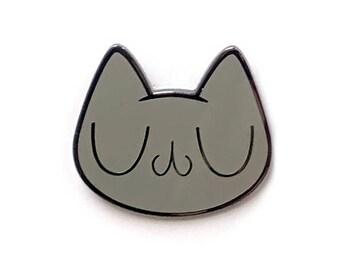 Meu Grey Cat Enamel Pin