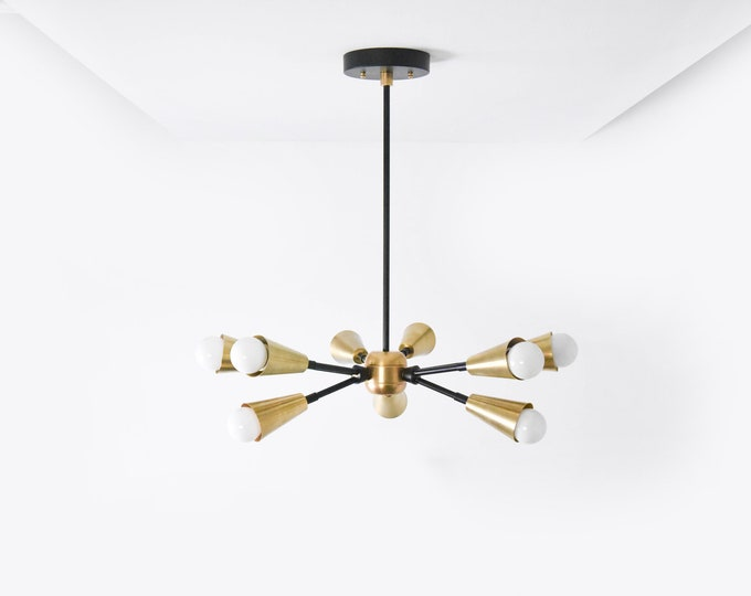 Black and Brass Gold Mix Modern Chandelier 9 Bulb Cone Cover Spike Light Pinwheel Sputnik Mid Century Industrial Hanging Light UL Listed