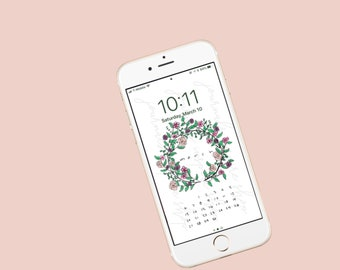 Floral wreath iPhone wallpaper
