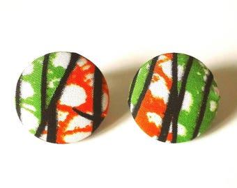 Ankara Earrings, African Jewelry, Stud Earrings, Ankara Fabric, Kente, Ankara Print, Large Button Earrings, African earrings, Africa