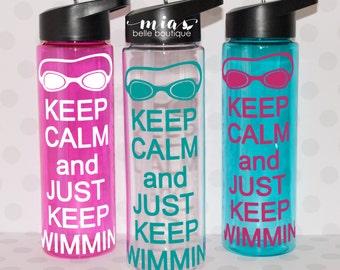 Personalized Swimmer water bottle, swimmer gift, swim team, bulk swim team gift, swim coach gift, swim water bottle, swim party favor