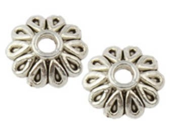 24pc 8mm antique silver finish metal bead caps-7298b