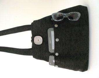 black handbag, shoulder bag, black tote bag converts to hobo bag, chenille fabric purse, everyday bag, gift ideas for women