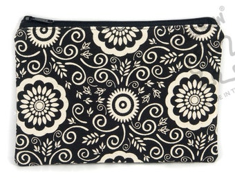 Flora zipper pouch, pencil case, make up bag, canvas purse, card holder, back to school