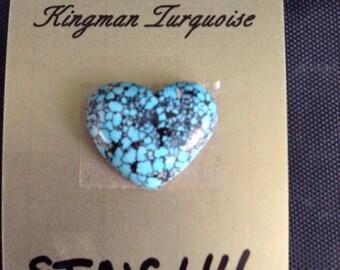 Natural Kingman Turquoise/Spiderweb/cabochon/heart shape/Arizona turquoise/8 carats/backed/STNC44