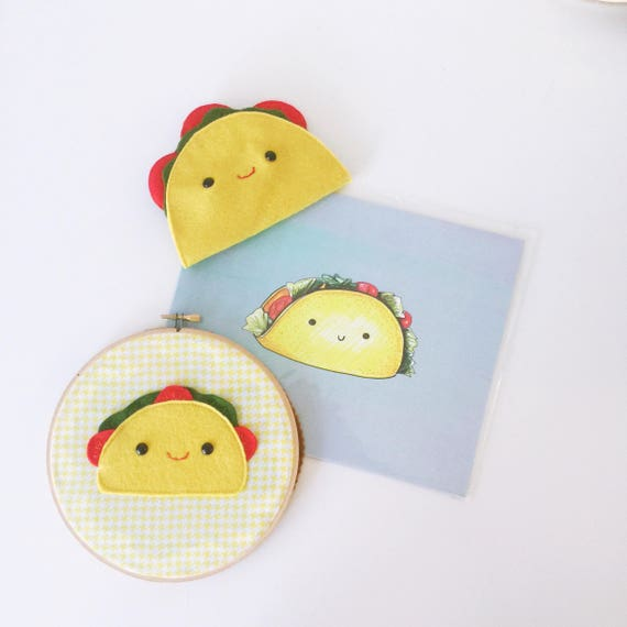 Taco Trio - Hoop Art, Plush Taco, and Illustration