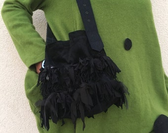 Black Mori Recycled Upcycled One of a kind Black Corduroy Purse with Tassels and Belt