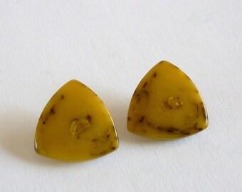 Caramel Color Triangular Lucite Earrings