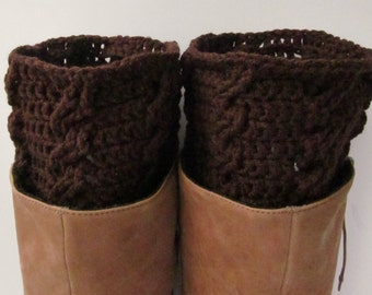 Brown Cabled Crochet Boot Cuffs