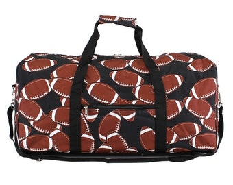 Football Around Duffle Bag, monogram duffle bag, duffle bag, overnight bag, personalized duffle, travel bag, weekender bag, personalized