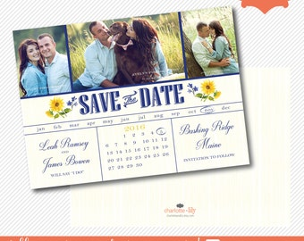 sunflower save the date, calender save the date, photo save the date, wedding save the date, rustic save the date, save the date card