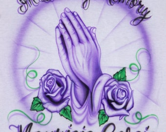 Airbrush In Loving Memory Praying Hands With Roses Purple Deceased Name Dates Custom Airbrushed Mourning Tee T Shirt Hoodie Memorial RIP
