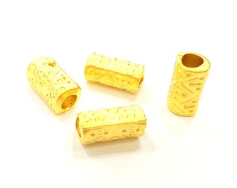 5 Gold Tube Beads Gold Plated Beads 13x7mm  G6859