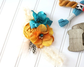 Curry Over - saffron ivory and teal M2M Well Dressed Wolf rosette and flower headband