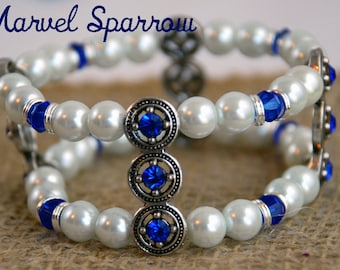 Doctor Who Wedding Cuff!  Tardis Blue Glass Bicone Beads with Starry White Glass Pearls & Silver Rings. River Song's favorite!